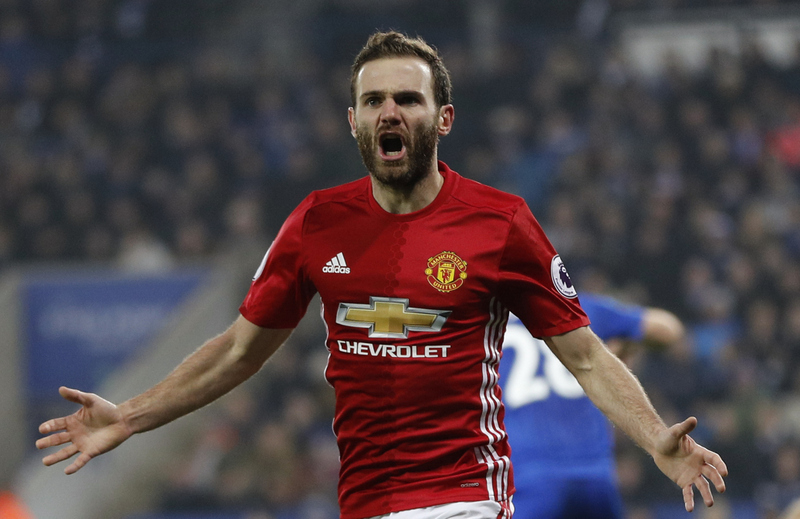 "Britain Soccer Football - Leicester City v Manchester United - Premier League - King Power Stadium - 5/2/17 Manchester United's Juan Mata celebrates scoring their third goal  Reuters / Darren Staples Livepic EDITORIAL USE ONLY. No use with unauthorized audio, video, data, fixture lists, club/league logos or ""live"" services. Online in-match use limited to 45 images, no video emulation. No use in betting, games or single club/league/player publications.  Please contact your account representative for further details."