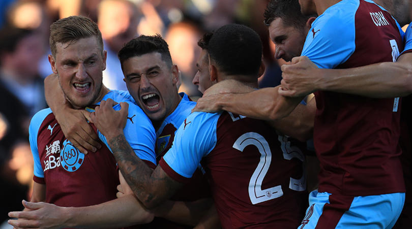 Burnley's Chris Wood celebrates opening goal of the game during the UEFA Europa League, Second Qualifying Round, Second Leg match at Turf Moor, Burnley. PRESS ASSOCIATION Photo, Picture date: Thursday August 2, 2018. See PA story SOCCER Burnley. Photo credit should read: Mike Egerton/PA Wire. RESTRICTIONS: Editorial use only. No commercial use.